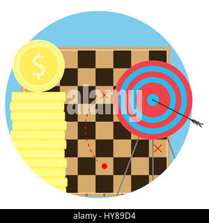 Strategy to achieve objectives. Aim and arrow, business bullseye, vector illustration - Stock Photo
