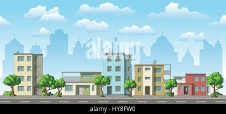 Illustration of a modern family house with trees - Stock Photo