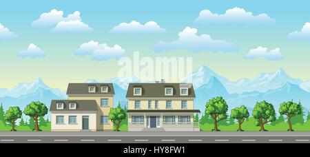 Illustration of a classic family house with trees - Stock Photo