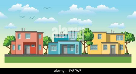 Illustration of modern family housees with trees - Stock Photo