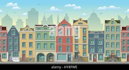 Seamless cityscape background with old houses - Stock Photo