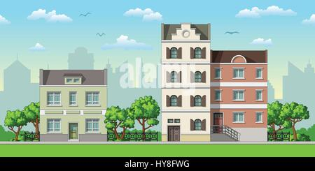 Illustration of three classic family houses with trees - Stock Photo