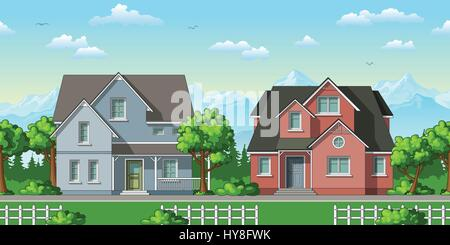 Illustration of two classic family houses with trees - Stock Photo