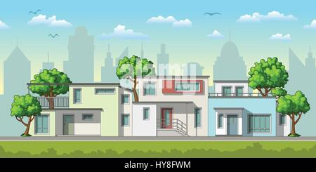 Illustration of modern family houses with trees - Stock Photo