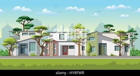Illustration of three modern family house with trees - Stock Photo