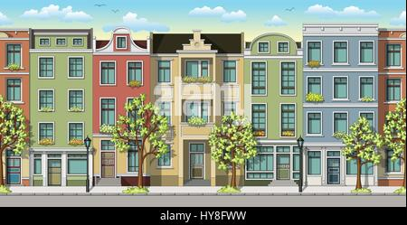 Seamless illustration of a classic family houses - Stock Photo