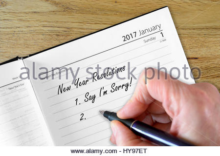 Say sorry, New Year Resolution Stock Photo: 137271751 - Alamy