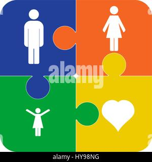 Colorful vector puzzles, four pieces isolated, with symbols of people. Social icon. - Stock Photo