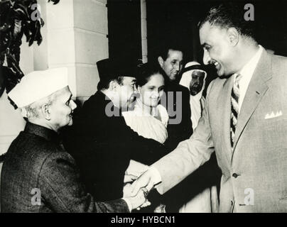 Egyptian president Gamal Abdel Nasser shake hands, Egypt - Stock Photo
