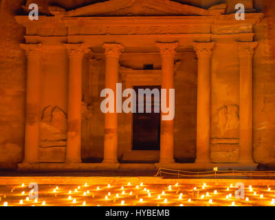 PETRA, JORDAN - FEBRUARY 20, 2012: night beoduin performance in front of Al-Khazneh (The Treasury) Temple in Petra. - Stock Photo