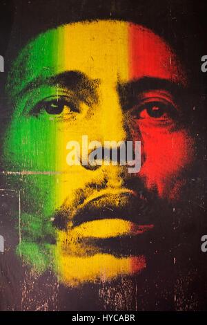 Bob marley jamaican reggae musician in amsterdam on a for Bob marley mural