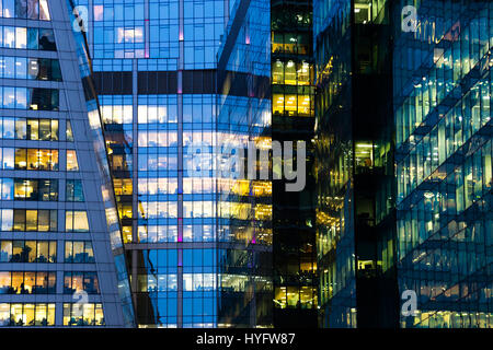 Modern office building at night - Stock Photo