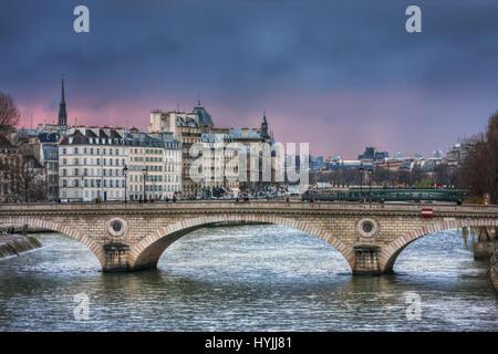 Bridge Louis-Philippe in twilight. France. Paris - Stock Photo