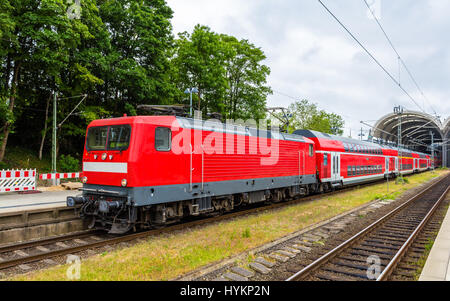A regional express train in Kiel Central Station - Germany - Stock Photo