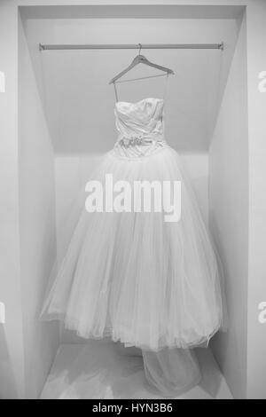 Bridal Gown On Mannequin In Shop Window Display Stock