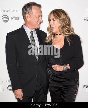 New York, USA. 26th April, 2017.  Rita Wilson (L) and Tom Hanks attend  'The Circle' screening during the 2017 Tribeca - Stock Photo