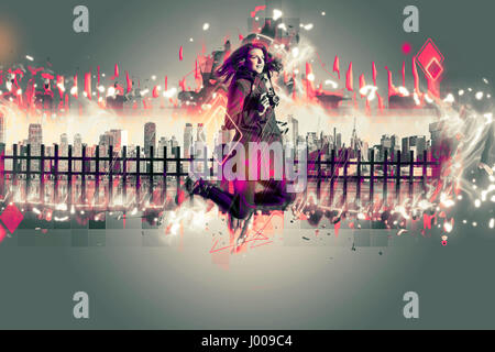 Young woman jumping in front of New York city. Architekt effect added. - Stock Photo