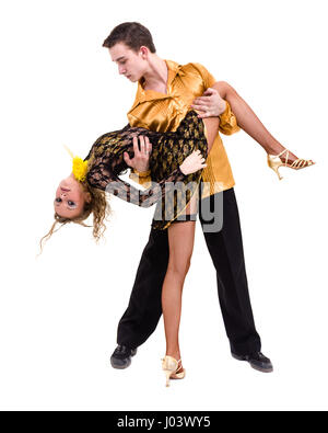 Full length of young ballet couple dancing against isolated white - Stock Photo