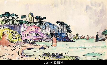 Paul Signac (1863-1935), LE28099estuaire à Trieux, Bretagne. Watercolour, pencil and ink, 11.2 x 20 cm - Stock Photo