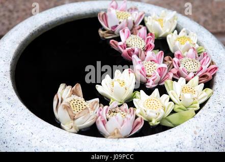 Buddhism symbol. Few beauty lily flowers in big stone pot - Stock Photo