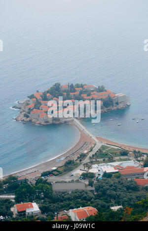Island of Sveti Stefan, view from the church of Sveti Sava, at s - Stock Photo