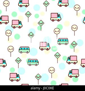 Vector illustration of the cute bus, car with the funny faces seamless pattern. Trendy Kawaii emoticons for print - Stock Photo