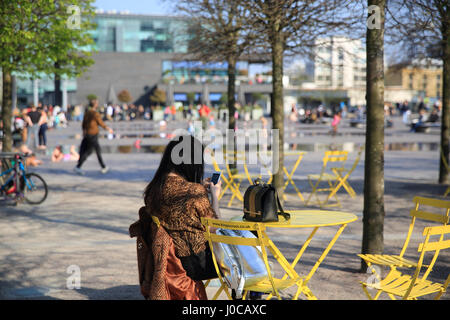 Granary Square, at Kings Cross NC1, London, UK - Stock Photo