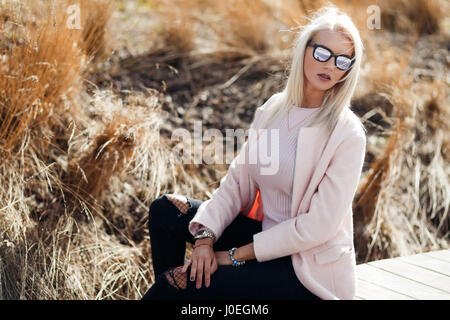 Beautiful long-haired woman in sunglasses - Stock Photo