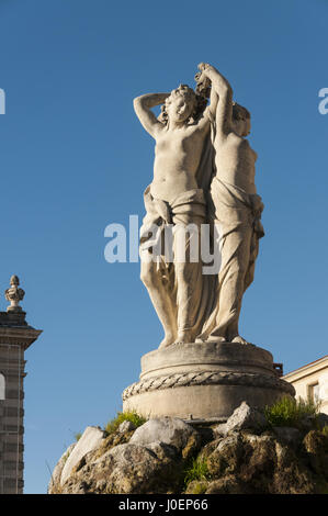 France, Montpellier, Place de la Comedie, Fountain of the Three Graces - Stock Photo