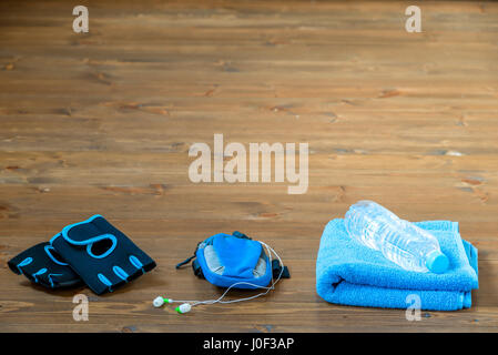 Objects for sports on the floor, space from above - Stock Photo
