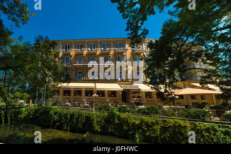 The beautiful view of the Atlantic hotel in Baden Baden, Baden Wuerttemberg, Germany - Stock Photo