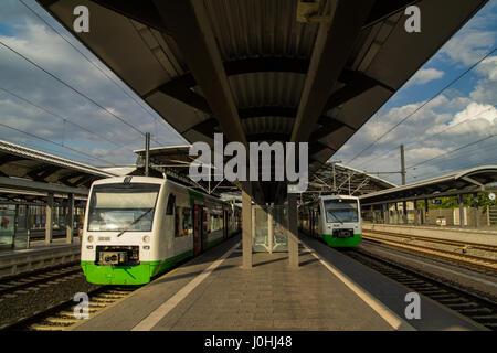 German trains on railway station in Thuringia - Stock Photo