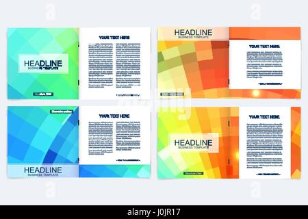 Business brochure design template. Vector flyer layout, abstract colorful polygonal background, leaflet, cover, - Stock Photo