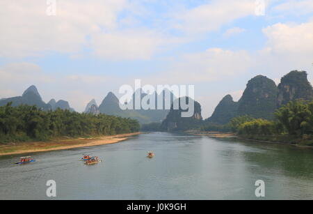 Karst mountain Li river landscape Yangshou China - Stock Photo