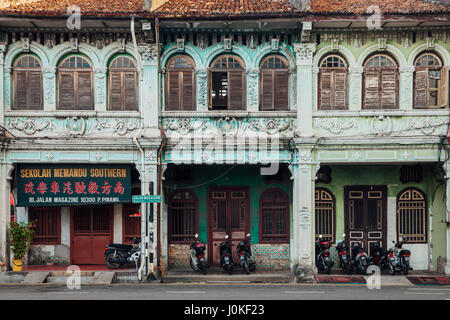 George Town, Malaysia - March 27, 2016: Facade of the old building located in UNESCO Heritage Buffer Zone, George - Stock Photo
