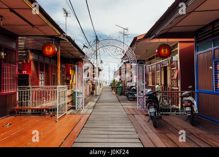 George Town, Malaysia - March 27, 2016: Heritage stilt houses of the Chew Clan Jetty, George Town, Penang, Malaysia - Stock Photo