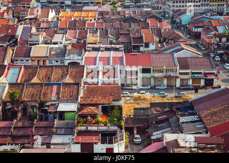 Georgetown, Malaysia - March 27, 2016: Panoramic view over historical part of the Georgetown on March 27, 2016 in - Stock Photo