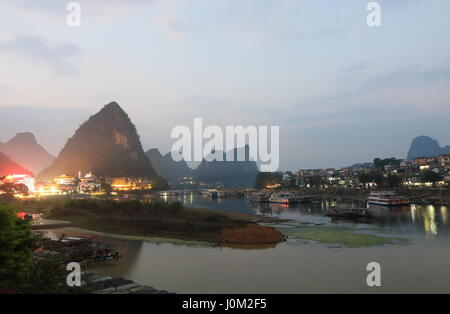 Karst mountain Li river landscape in Yangshou China - Stock Photo