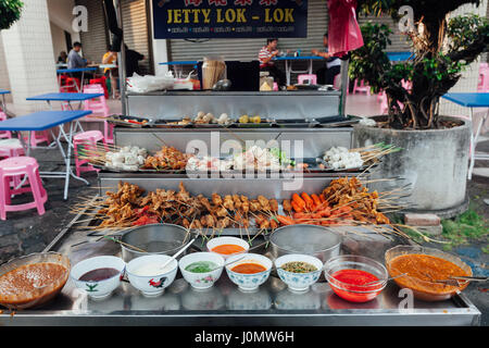 George Town, Malaysia - March 22, 2016: Lok-Lok steamboat stall at the Kimberly Street Food Market, George Town, - Stock Photo