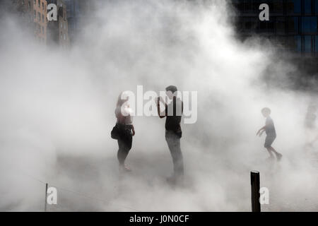 Fujiko Nakaya immersive fog sculpture at South Terrace Tate Modern Gallery, Southwark, London, UK. - Stock Photo