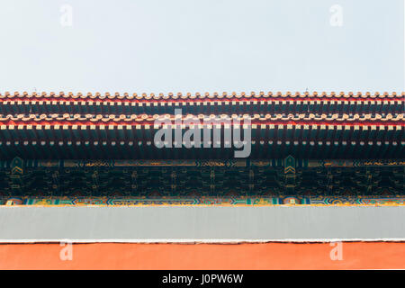 low angle of Palace red walls,The Forbidden City in Beijing China - Stockfoto