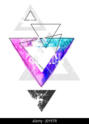 Composition of geometric shapes with a triangle painted with bright watercolor paint on a white background. Watercolor - Stock Photo