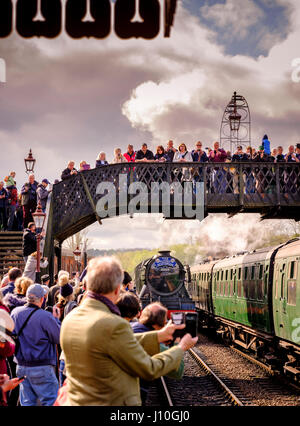 The Flying Scotsman visits the Bluebell Railway in East Sussex. The Bluebell was the first standard guage preservation - Stock Photo