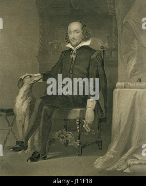 William Shakespeare (1564-1616), English Poet, Playwright and Actor, Portrait from Original Painting by Chappel - Stock Photo