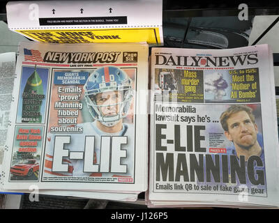 The New York tabloids on Friday, April 14, 2017 report on the scandal involving NY Giants team member Eli Manning - Stock Photo
