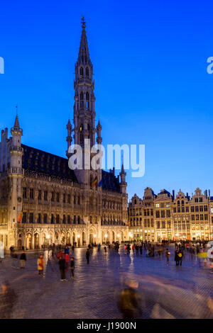 Night view of Grand Place with Hotel de Ville (City Hall) building, Brussels, Belgium - Stock Photo