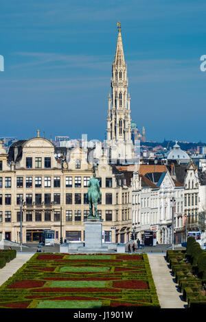 City center skyline from Mont Des Arts, Brussels, Belgium - Stock Photo