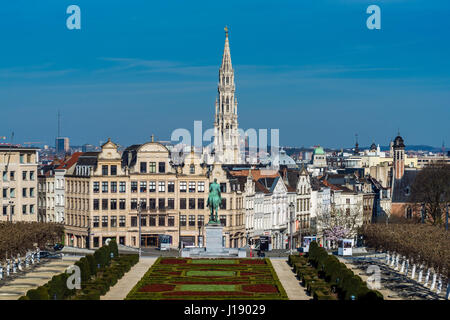 City center skyline from Mont Des Arts, Brussels, Belgium - Stock Photo