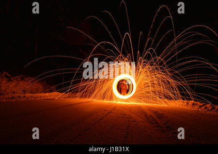 Spinning steel wool on Mount Baker Highway. - Stock Photo