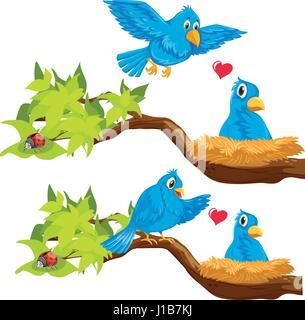 Blue birds in the nest illustration - Stock Photo